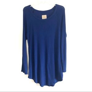 NEW chaser waffle knit thermal tunic top blue